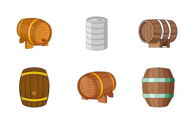Set di elementi di canna. insieme del fumetto degli elementi di vettore del barilotto