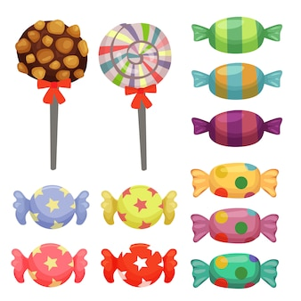 Set di elementi di caramelle di canna da zucchero