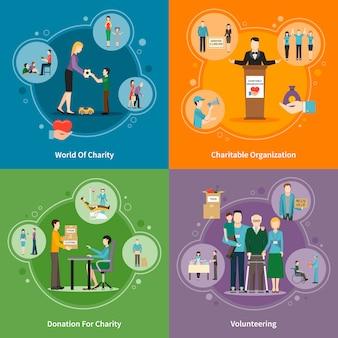 Set di elementi di carità donazione