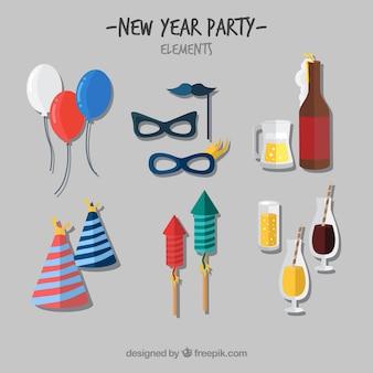Set di elementi di celebrazione di nuovo anno