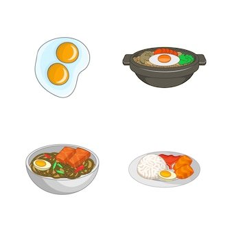 Set di elementi di cibo di uovo. insieme del fumetto di elementi di vettore di cibo dell'uovo