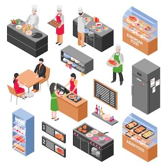Set di elementi di cibo tribunale