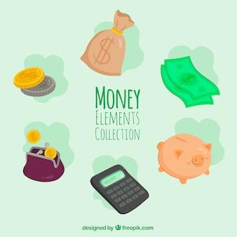 Set di elementi di denaro e calcolatrice