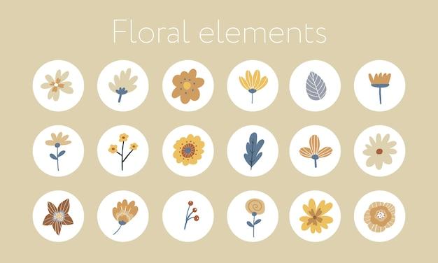 Set di elementi di design disegnati a mano con fiori e foglie.