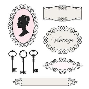 Set di elementi di design in stile vintage