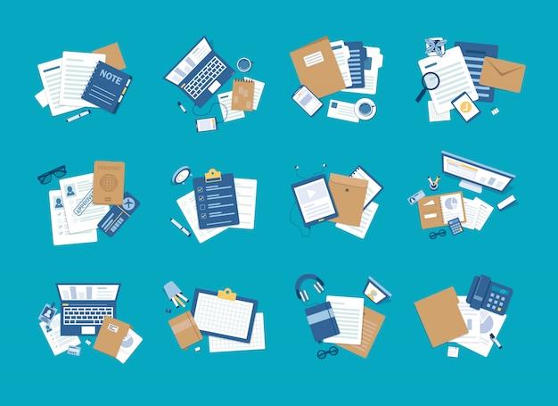 Set di elementi di design piatto di forniture per ufficio e sul posto di lavoro