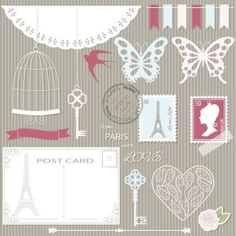 Set di elementi di design scrapbook e sagome.