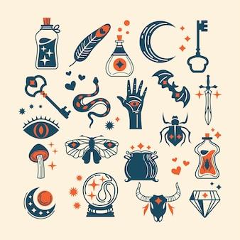 Set di elementi di design strega mago