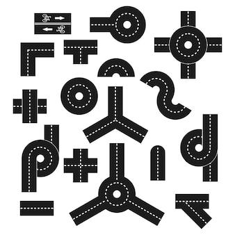 Set di elementi di direzione stradale. insieme semplice del vettore di direzione della strada per web design isolato