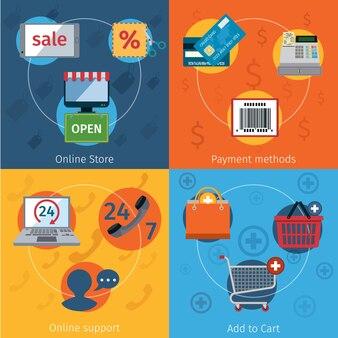 Set di elementi di e-commerce piatta