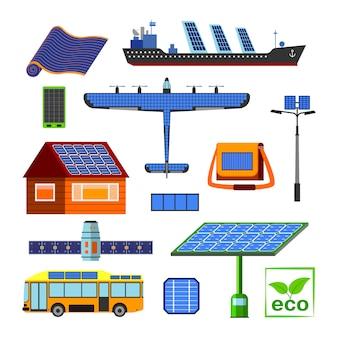 Set di elementi di energia solare.