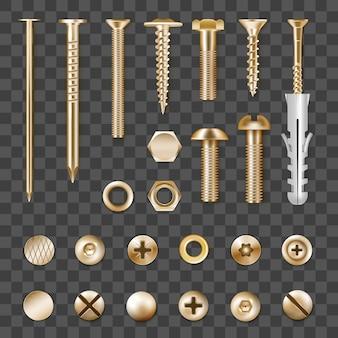 Set di elementi di fissaggio in metallo dorato realistico isolato su trasparente