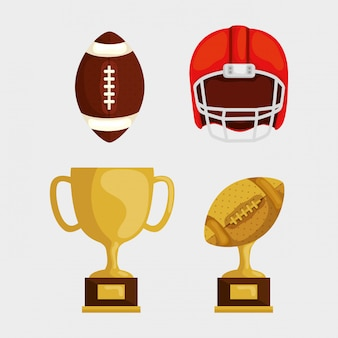 Set di elementi di football americano