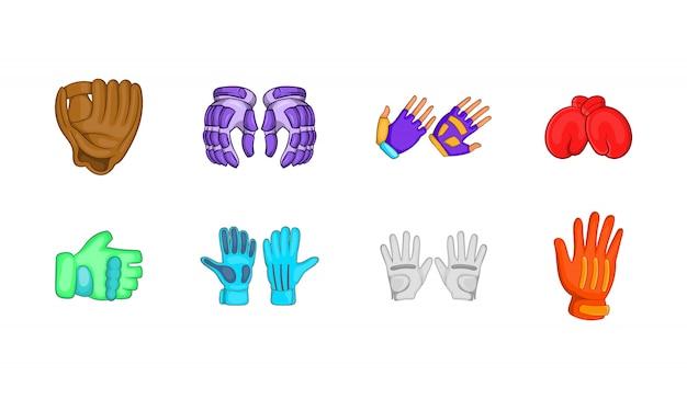 Set di elementi di guanti sportivi. insieme del fumetto degli elementi di vettore dei guanti di sport