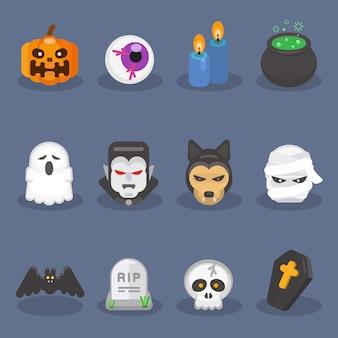 Set di elementi di halloween