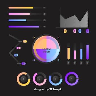 Set di elementi di infografica sfumata
