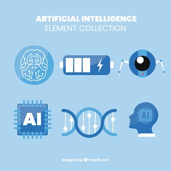 Set di elementi di intelligenza artificiale in design piatto