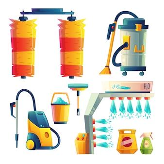 Set di elementi di lavaggio auto brillante del fumetto. servizio automobilistico per la pulizia dei trasporti