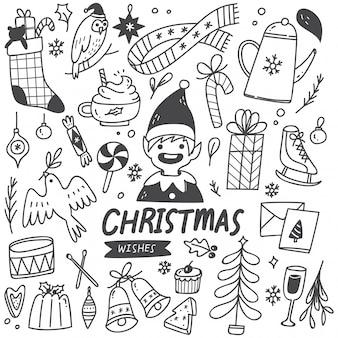 Set di elementi di natale in stile doodle
