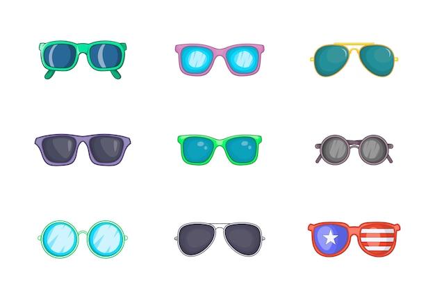 Set di elementi di occhiali da sole. insieme del fumetto degli elementi di vettore degli occhiali da sole