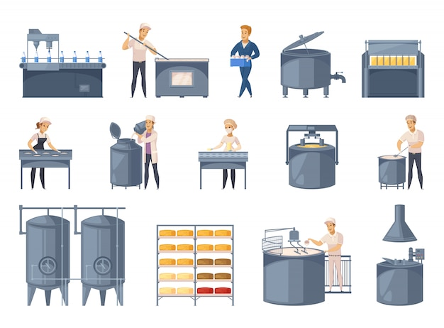 Set di elementi di produzione lattiero-casearia