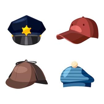 Set di elementi di protezione. cartone animato set di cappuccio