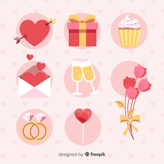 Set di elementi di san valentino piatto