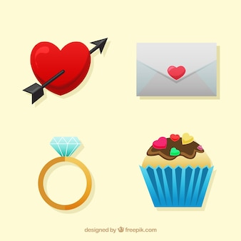 Set di elementi di san valentino