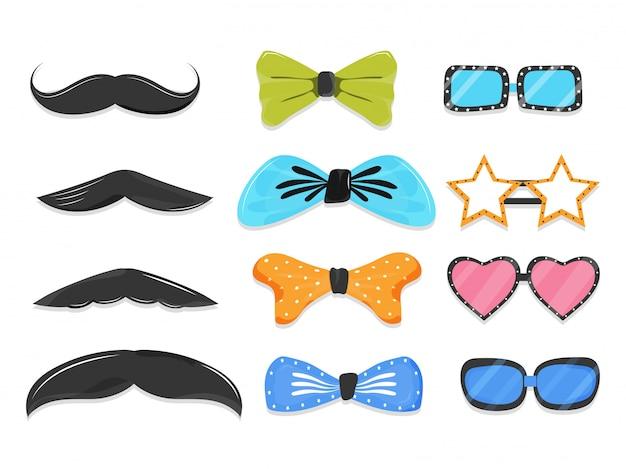 Set di elementi di scena party come baffi, papillon, occhiali in stile diverso.
