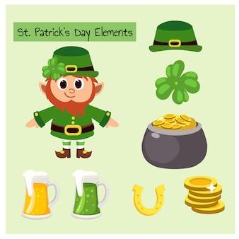 Set di elementi di st. patrick day e simpatico personaggio mascotte