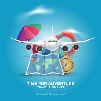 Set di elementi di viaggio in stile realistico