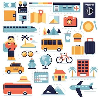 Set di elementi di viaggio, infografica