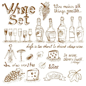 Set di elementi di vino