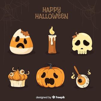 Set di elementi disegnati a mano in stile halloween