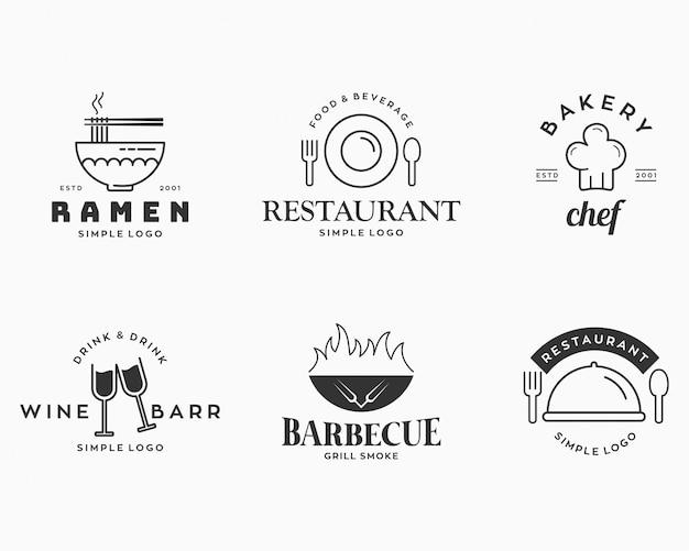 Set di elementi distintivi ed etichette per ristorante con logo ramen, panetteria, barbecue, enoteca, ecc.