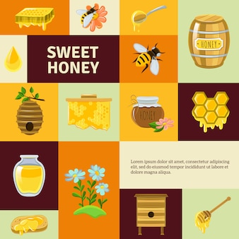 Set di elementi dolce miele