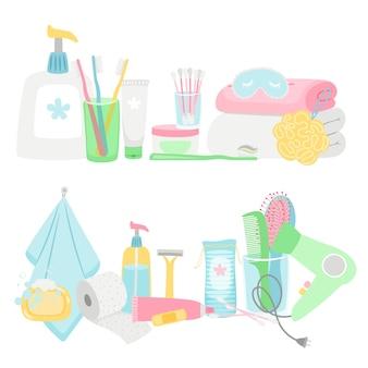 Set di elementi e accessori per l'igiene dei cartoni animati