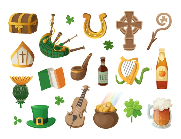 Set di elementi e personaggi irlandesi colorati. illustrazioni isolate