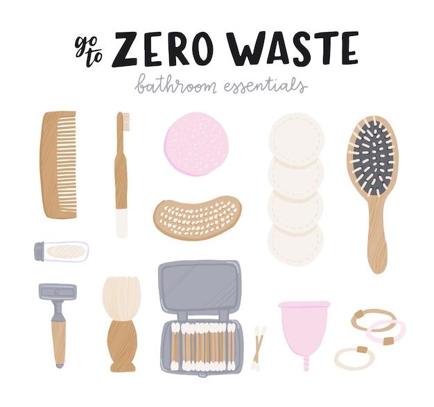 Set di elementi essenziali per il bagno a spreco zero con scritta sul display.