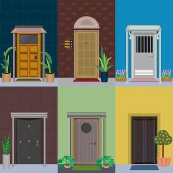 Set di elementi esterni edificio piatto