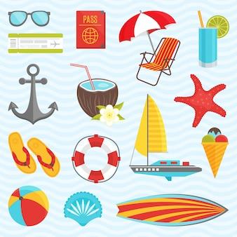 Set di elementi estivi