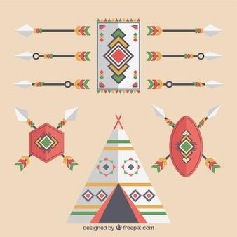 Set di elementi etnici e frecce in design piatto