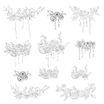Set di elementi floreali. illustrazione vettoriale