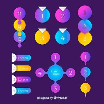 Set di elementi gradiente infografica
