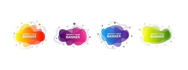Set di elementi grafici liquidi moderni astratti. forme e linee colorate dinamiche. bandiere astratte di gradiente con le forme liquide scorrenti.