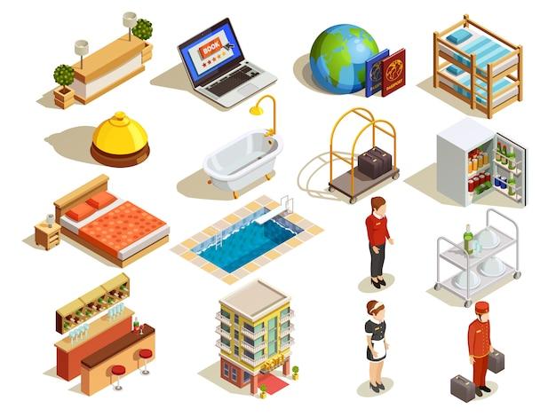 Set di elementi isometrici hotel