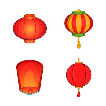 Set di elementi lampada fuoco. insieme del fumetto degli elementi di vettore della lampada del fuoco