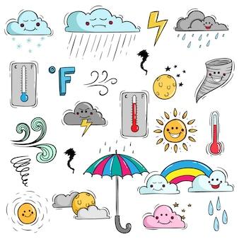 Set di elementi meteorologici colorati con stile doodle e faccia kawaii
