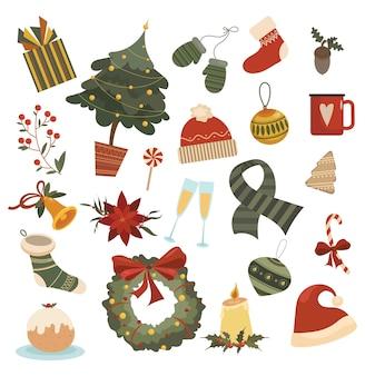 Set di elementi natalizi. una raccolta di disegni animati