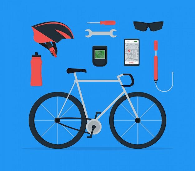 Set di elementi per biciclette in stile piatto.